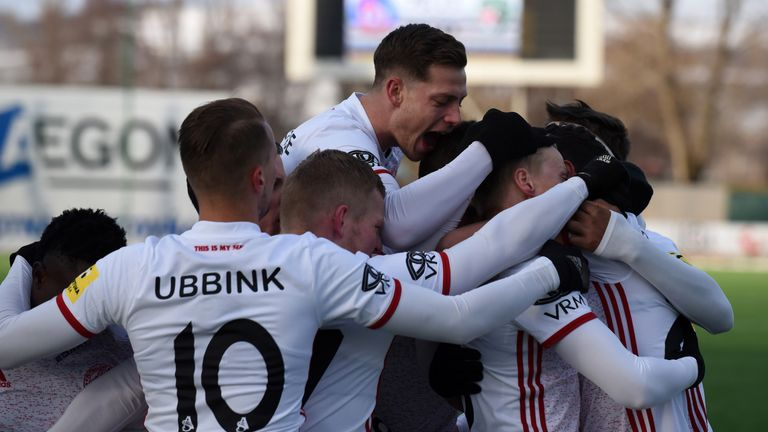 AS Trencin players celebrate with Lawrence among them [Credit: AS Trencin]
