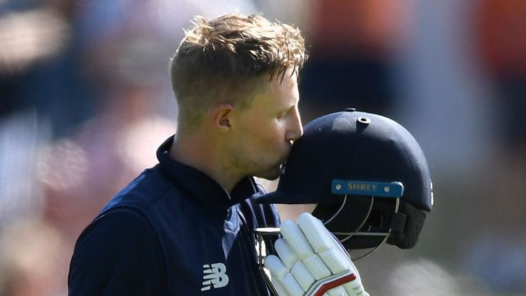 Joe Root celebrates his hundred against New Zealand in the fourth ODI