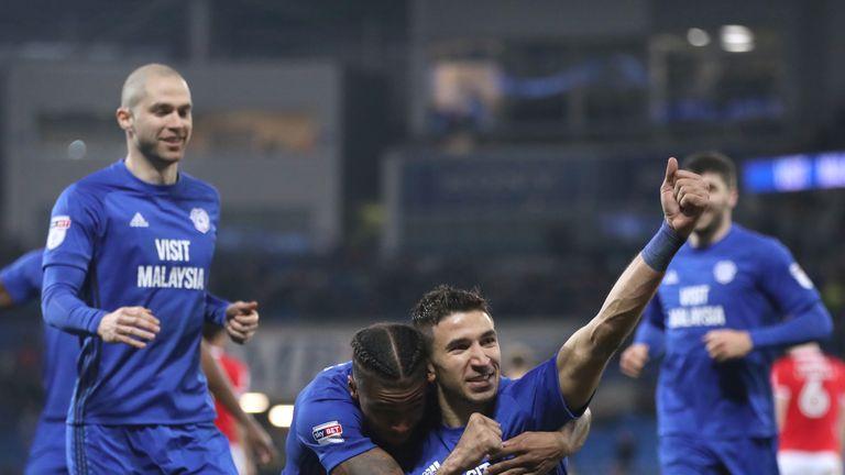 Marko Grujic celebrates scoring Cardiff's second goal of the game against Barnsley
