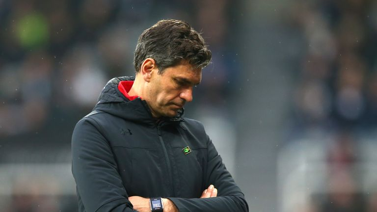 Mauricio Pellegrino looks dejected during Southampton's defeat at St James' Park