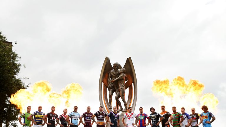 Players from all clubs pose during the 2018 NRL season launch