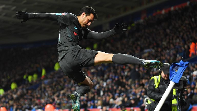 Pedro celebrates his winning goal at the King Power Stadium