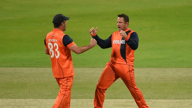 Roelof van der Merwe claimed four wickets for the Netherlands in a win over Papua New Quinea