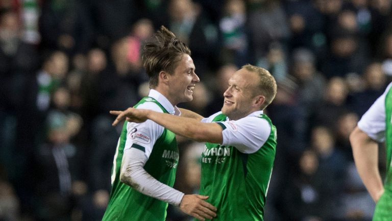 Hibernian's Scott Allan (left) celebrates his goal with teammate Dylan McGeouch.