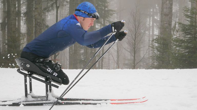 Team GB Para-Nordic Skier Scott Meenagh in action