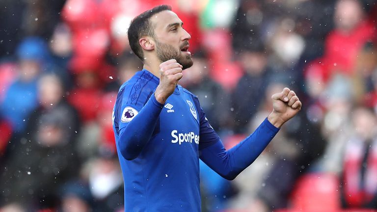 Cenk Tosun reacts after scoring for Everton against Stoke in the Premier League.