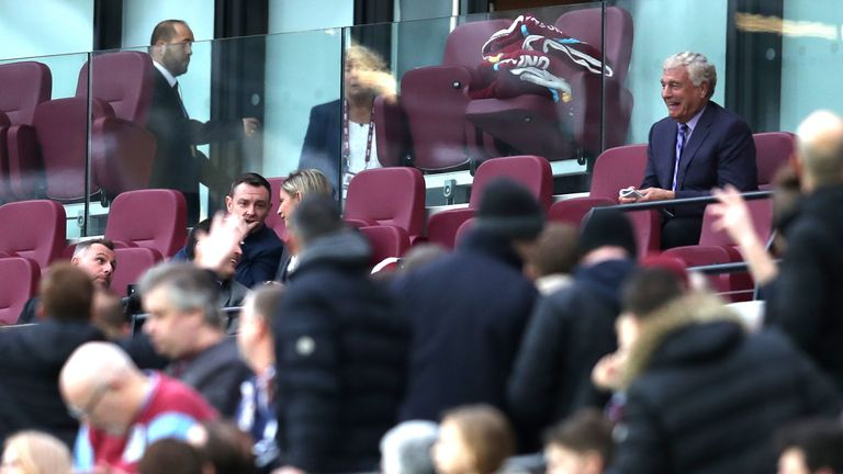 West Ham director of football development Trevor Brooking remained in the box