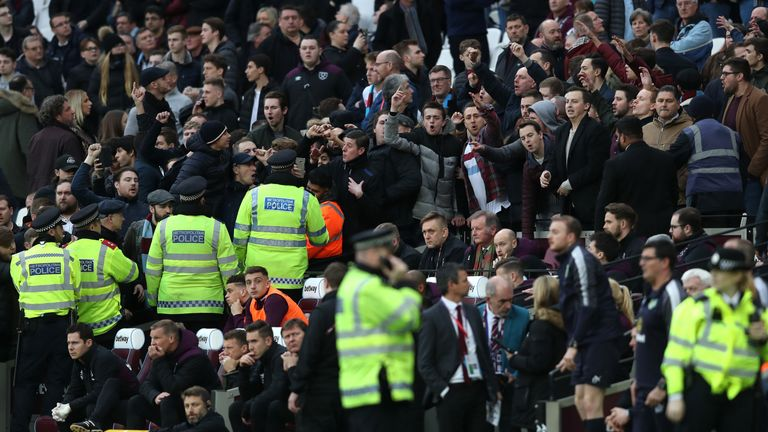 Police had to be deployed to protect the West Ham bench