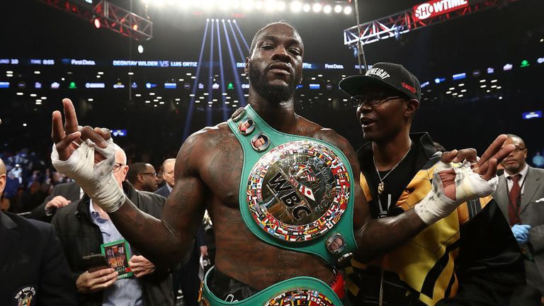 Deontay Wilder will be watching Joshua in Wales