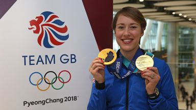 Team GB's Lizzy Yarnold poses with her skeleton gold medals from the Sochi 2014 and PyeongChang 2018 Winter Games