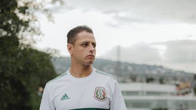 West Ham's Javier Hernandez models the new Mexico World Cup 2018 away shirt (credit: adidasUK)