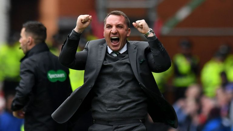 Celtic manager Brendan Rodgers celebrates his side's first goal against Rangers