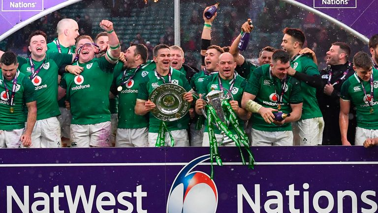 Ireland celebrate after completing the Six Nations Grand Slam