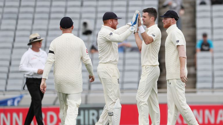 James Anderson celebrates the wicket of Kane Williamson with Jonny Bairstow. New Zealand v England.