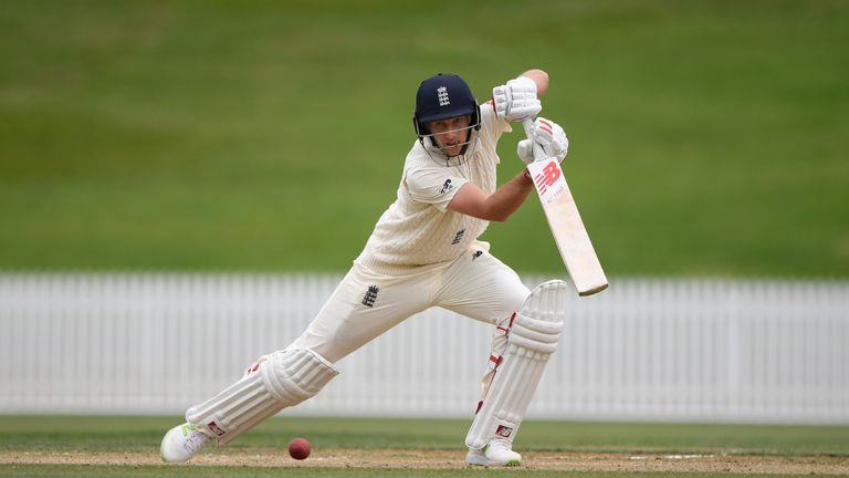 Joe Root during day two of the Test warm up match between England and New Zealand Cricket XI at Seddon Park on March 17, 2018 in Hamilton, New Zealand