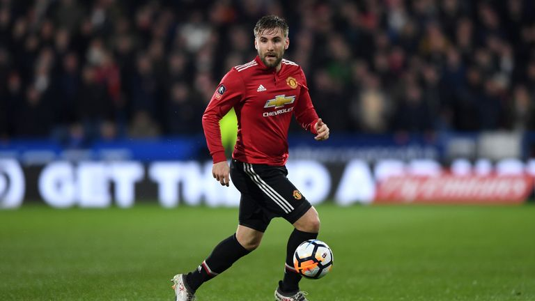 Luke Shaw on February 17, 2018 in Huddersfield, United Kingdom.