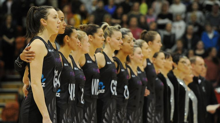New Zealand players sing the national anthem before the International Test match between the New Zealand Silver Ferns and the England Roses at Pettigrew Green Arena on September 10, 2017 in Napier, New Zealand.