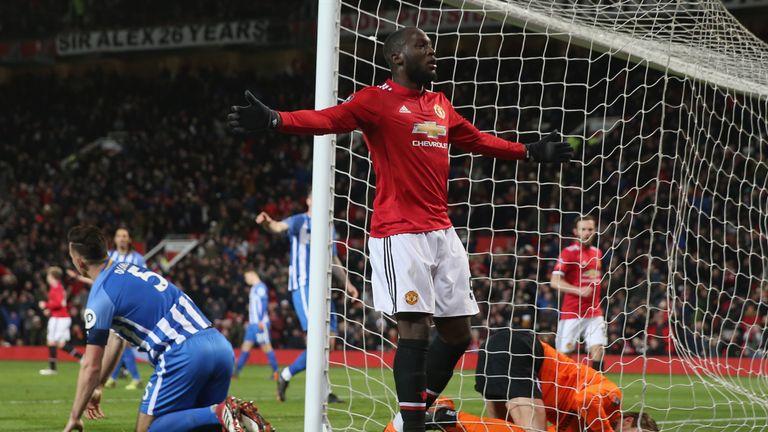 Romelu Lukaku celebrates scoring for Manchester United against Brighton