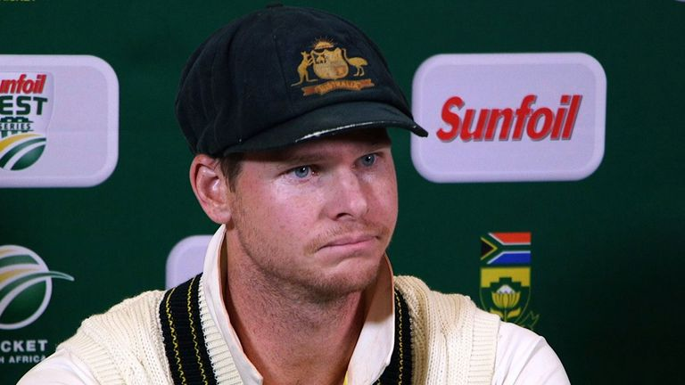 Australia skipper Steve Smith faces the media after admitting he planned to ball-tamper