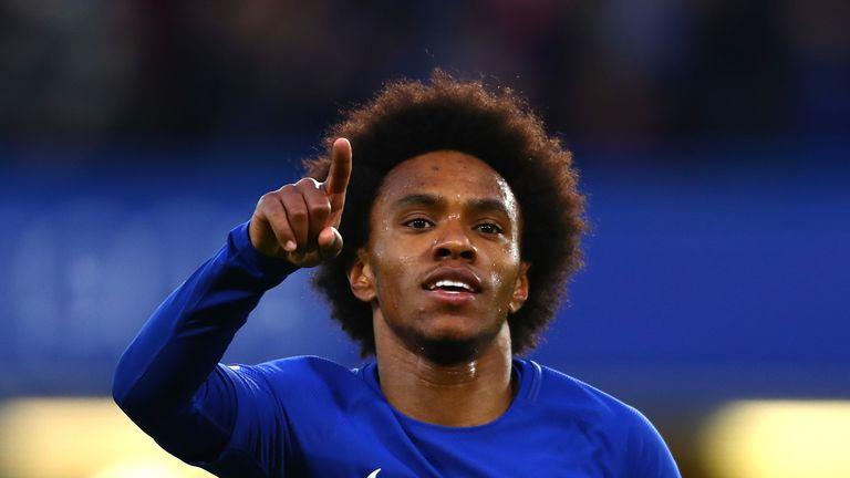Willian celebrates after scoring Chelsea's opening goal