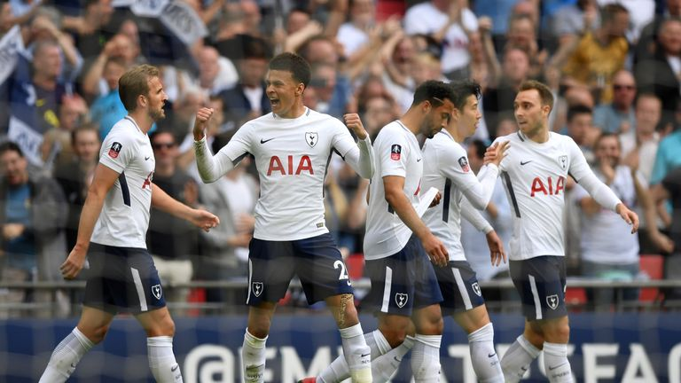 Dele Alli celebrates after opening the scoring at Wembley