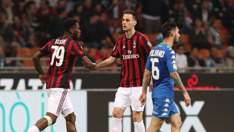 Nikola Kalinic scored a last-gasp equaliser for AC Milan