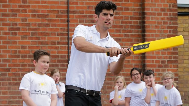 Cook visits a primary school for the Yorkshire Tea National Cricket Week