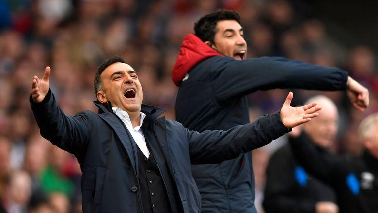 Swansea City manager Carlos Carvalhal celebrates his side's equaliser