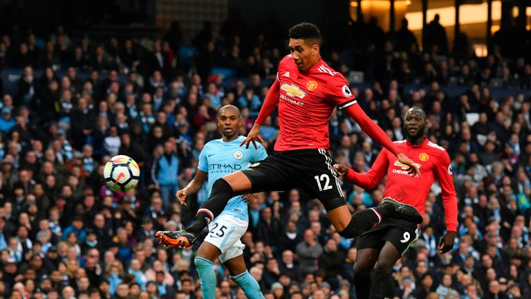 Chris Smalling makes it 3-2 to Manchester United with a close range finish