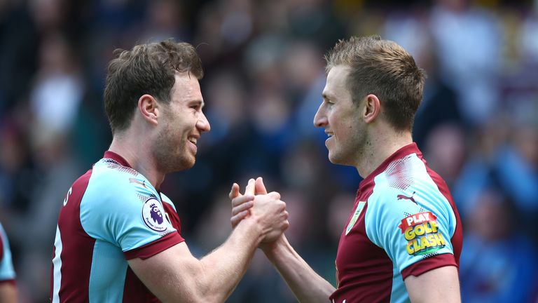 Chris Wood celebrates scoring his side's first goal of the game with Ashley Barnes