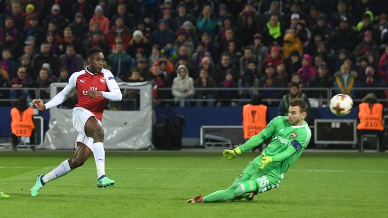 Danny Welbeck's 75th minute strike was Arsenal's first shot on target against CSKA Moscow