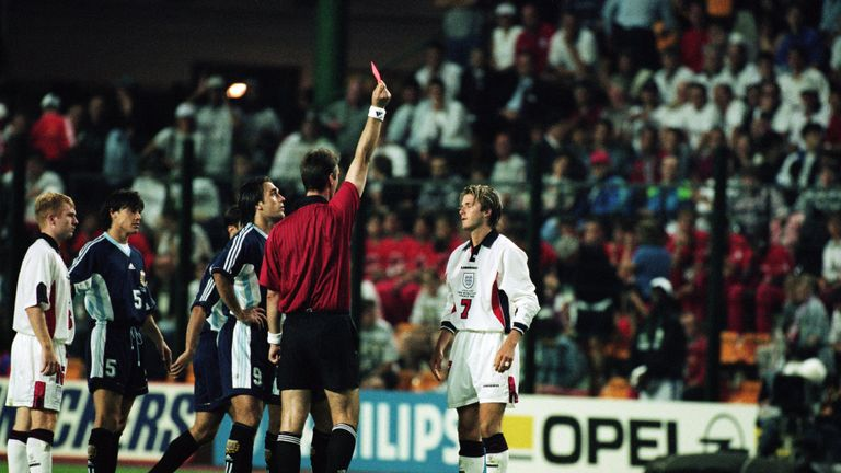 David Beckham was public enemy No 1 after his sending off at the 1998 World Cup
