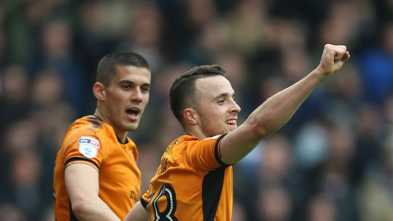 Wolverhampton Wanderers' Diogo Jota celebrates scoring his side's first goal against Birmingham City