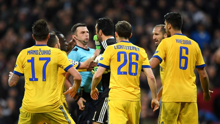English referee Michael Oliver sent off Gianluigi Buffon during the Champions League quarter-final at the Santiago Bernabeu