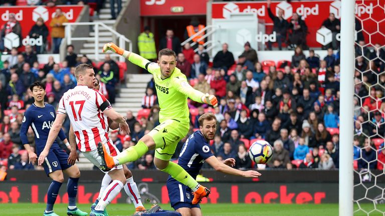 Stoke goalkeeper Jack Butland is beaten by Tottenham's Harry Kane at the bet365 Stadium