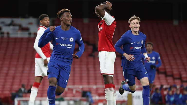 Callum Hudson Odoi celebrates slotting home for Chelsea in the 4-0 win