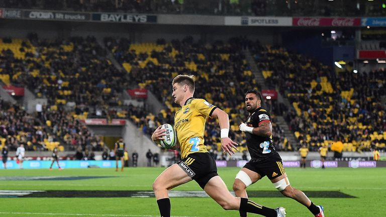 Jordie Barrett thought he had a try but the play was called back