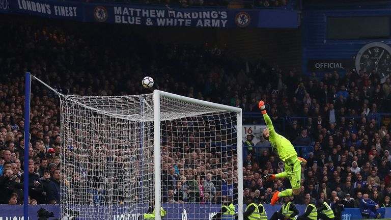 Joe Hart pulled off a stunning save to deny Marco Alonso at Stamford Bridge