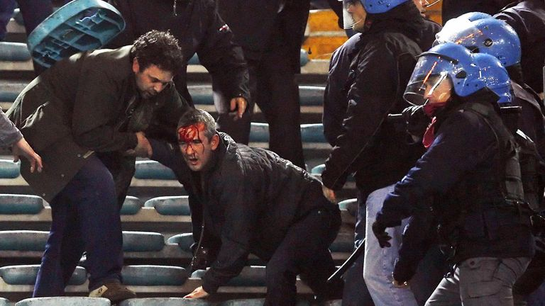 A number of Manchester United fans were injured during clashes in the stadium and in the city when they played Roma in 2007