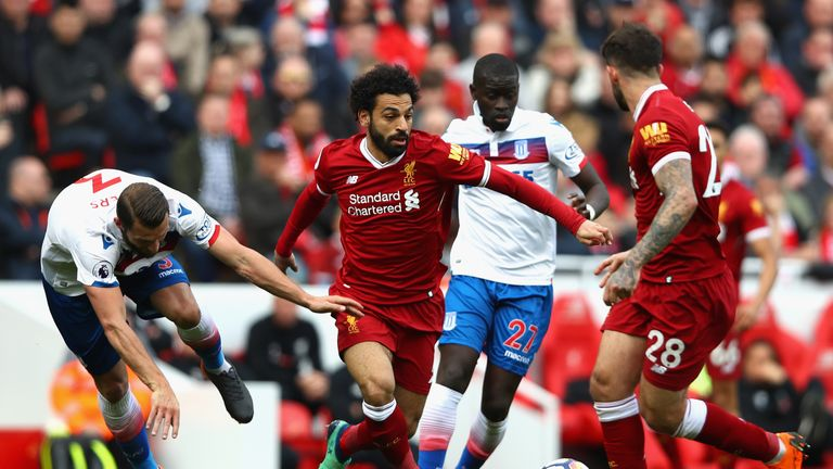 Mohamed Salah takes on the Stoke defence - but couldn't find a way through