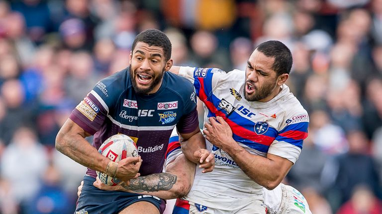 Watkins (left) helped Leeds to their sixth win of the season at Wakefield on Sunday