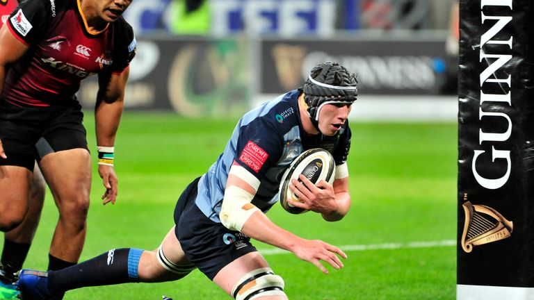 Seb Davies goes over for a try for Cardiff Blues in Port Elizabeth