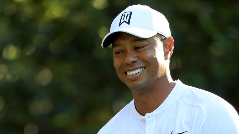 Tiger Woods has appeared in relaxed mood during practice rounds