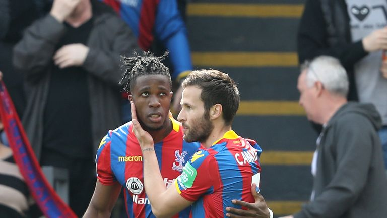 Palace are keen to keep Cabaye amid ongoing interest for Wilfried Zaha, left.