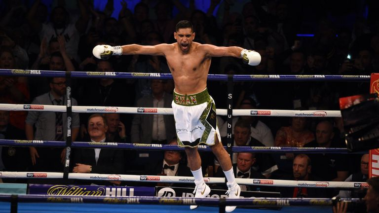 Amir Khan celebrates after beating Phil Lo Greco in 40 seconds