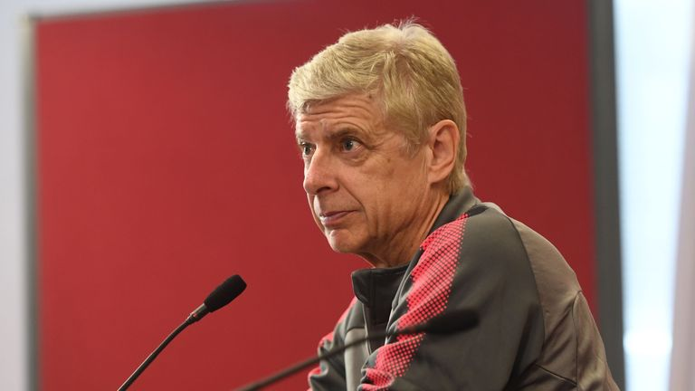 Arsenal manager Arsene Wenger attends a press conference at London Colney on April 25, 2018 in St Albans, England