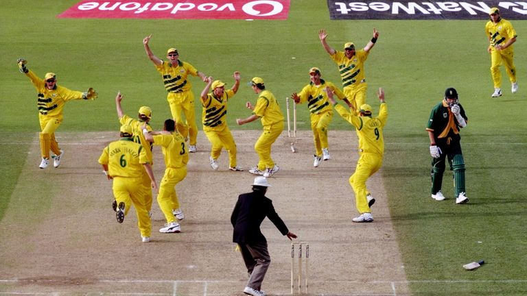 Australia celebrate after beating South Africa in the 1999 World Cup semi-final