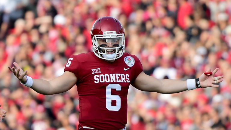 Baker Mayfield in the 2018 College Football Playoff Semifinal at the Rose Bowl Game presented by Northwestern Mutual at the Rose Bowl on January 1, 2018 in Pasadena, California.