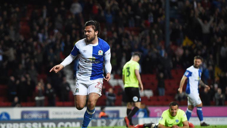 Bradley Dack of Blackburn Rovers celebrates after scoring against Peterborough United