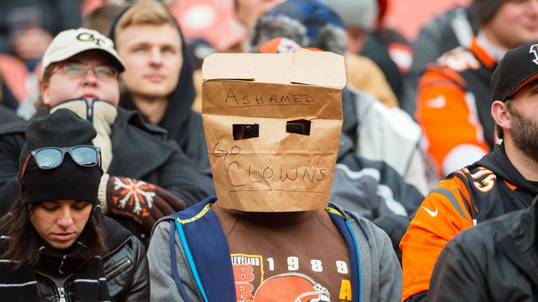 CLEVELAND, OH - DECEMBER 6: A Cleveland Browns fan expresses their disappointment with the team during the second half against the Cincinnati Bengals at FirstEnergy Stadium on December 6, 2015 in Cleveland, Ohio. The Bengals defeated the Browns 37-3. (Photo by Jason Miller/Getty Images) *** Local Caption ***
